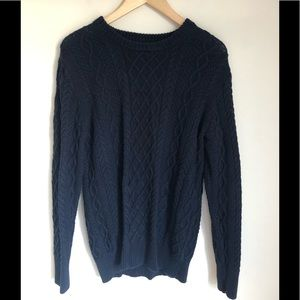 Jcrew Cable knit navy blue crew neck Sweater